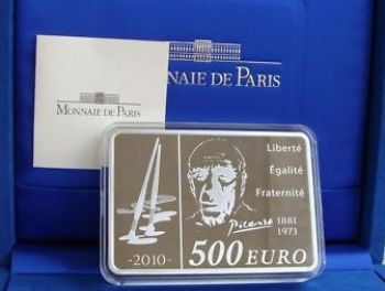 FRANCE. 500 Euro 1 kg Silver Proof 2010 Pablo Picasso   -   Free shipping
