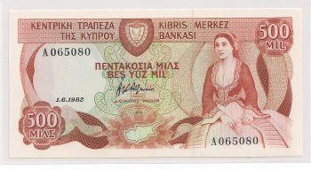 CYPRUS  MILS 500/1.6.1982 UNC ++ !