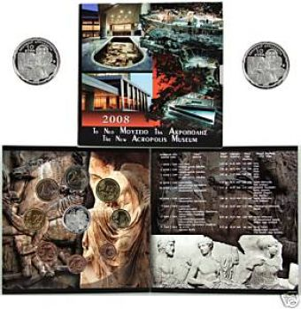 Greece  BU SET  Tryptich. Official set Year 2008  with 10 euro silver proof coin Museum Akropolis.