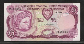 CYPRUS Pounds 5/1.6.1979 UNC++
