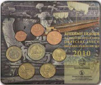 Greece  Greek  Blister  Official set Year 2010  ( 2 euro coin  Bull )