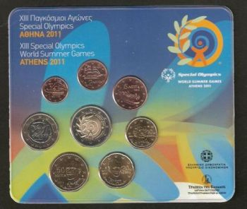 Greece  Greek  Blister  Official set Year 2011  ( 2 euro coin comemorate Special Olympics )
