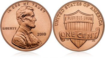 USA 1 cent 2010 UNC Lincoln Shield