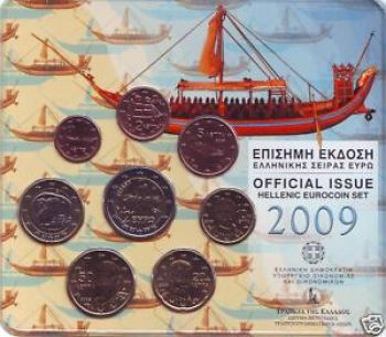 Greece  Greek  Blister  Official set   Year 2009 The ship of Thera