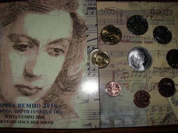 Greece Greek BU SET  Tryptich. Official set Year 2010  with 10 euro silver proof coin Sofia Vempo .