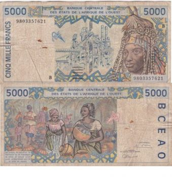 BENIN (WEST AFRICAN STATE) 1000 FRANCS 2002 P-211b UNC