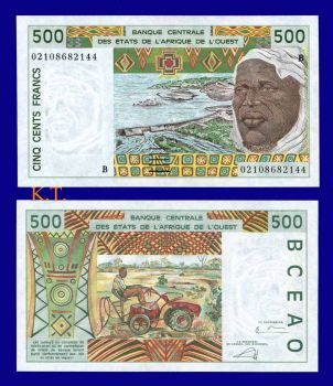 BENIN WEST AFRICAN STATE 500 FRANC 2002 P-210b UNC