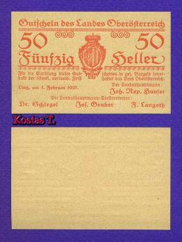 AUSTRIA 50 HELLER 1921 P S121 UNC