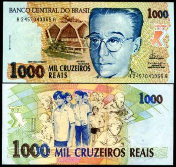BRAZIL 1000 CRUZEIROS 1993 P 240 UNC