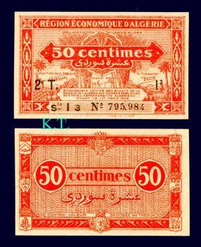 ALGERIA 50 Centimes P-100 (1944) UNC