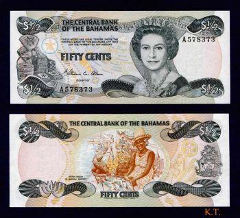 BAHAMAS 1/2 Dollar -50 Cents- 1974 (1984) UNC