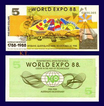 AUSTRALIA 5$  DOLLARS WORLD EXPO 1988 UNC
