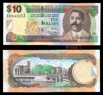 BARBADOS 10 DOLLARS 2007 P-NEW UNC
