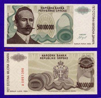 BOSNIA HERZEGOVINA (SERBIAN) 500.000.000 DINARA 1993 UNC