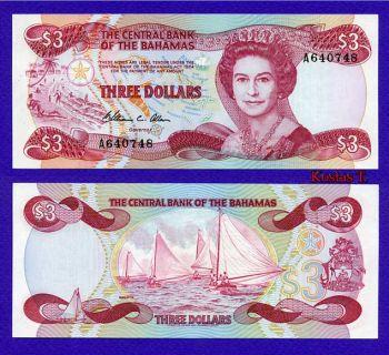 BAHAMAS 3 DOLLAR 1974 UNC