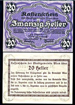 1920 AUSTRIA 20 HELLER AUNC