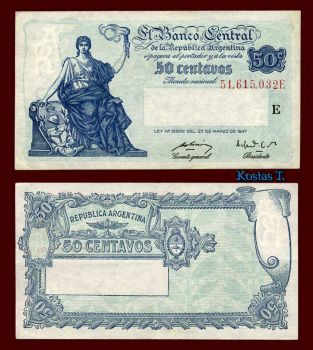 ARGENTINA 50 CENTAVOS 1948-1950 P-256 AUNC