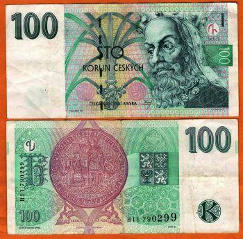 CZECH REPUBLIC 100 KORUN 1997 P-18 UNC