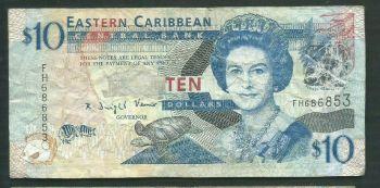 EAST CARIBBEAN 10 DOLLARS 1985 P-23 UNC