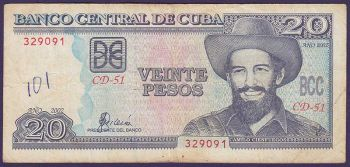 CUBA 5 PESOS 1990 (ANTONIO MACEO) P-103d UNC