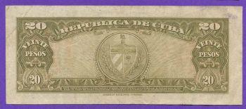 CUBA 20 pesos 1960 VF