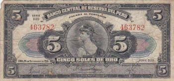 PERU 100 SOLES DE ORO 2.10.1975 P 108 UNC
