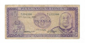 TONGA 5 PA'ANGA 2008-2009 UNC