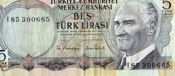 TURKEY 5 NEW LIRA 2009 UNC