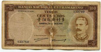 TIMOR 100 ESCUDOS 1963 UNC (ΧΩΡΙΣ spots)
