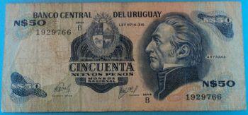 URUGUAY 50 CENTESIMOS 1939 P-34 UNC