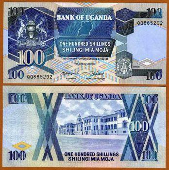 UGANDA 100 SHILLINGS 1988 P-31 UNC