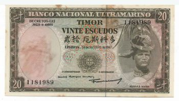 TIMOR 20 ESCUDOS 1967 UNC (spots)