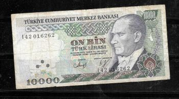 TURKEY 10000 LIRA 1970 (1989) P 200 UNC