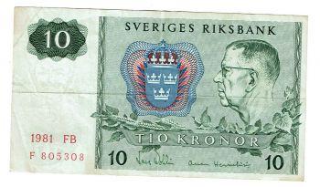 SWEDEN 10 KRONOR 1968 P-56 UNC