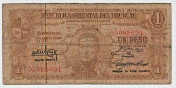URUGUAY 1 NUEVO PESO ON 1.000 PESOS ND 1975 P-56 UNC
