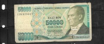 TURKEY 500.000  LIRA 1993 P 208 UNC