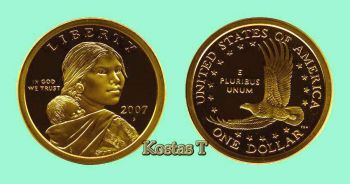 "Proof 2007 Golden Sacagawea ""S"""