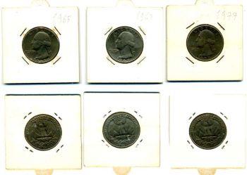 3 USA Quarters 1965-1967-1977