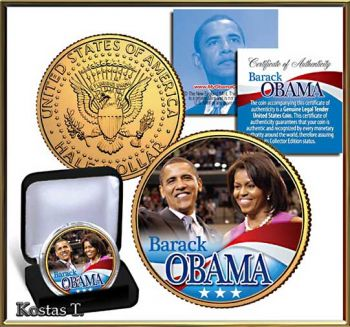 Barak + Michelle Obama Golden & Colorized US Half Dollar