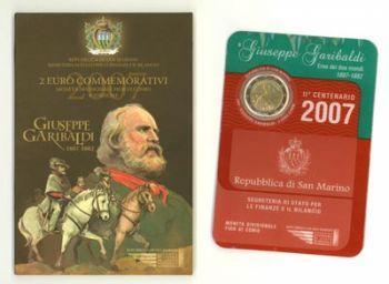 SAN MARINO 2 EURO COMMEMORATIVE COIN 2007 GARIBALDI