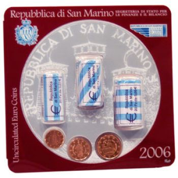 San Marino- Miniroll with 3 Rolls (60 coins 1ct 2ct 5ct)   3 coins 1, 2 and 5 cent  2006