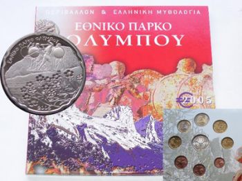 Greece - Official BU Set 2005   10 Euro silver Olympus National Park