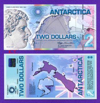 ANTARCTICA 2 DOLLARS POLYMER 30-7-2007 UNC