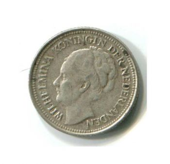 NETHERLANDS 10 CENTS 1936 SILVER