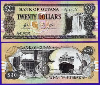 GUYANA 20 DOLLARS 1996 UNC
