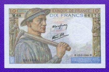 FRANCE 10 FRANCS 13-1-1944 ΑUNC
