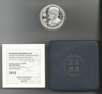 New issue! 10 EURO Silver proof 2015 (Archimides) Original BOX with C.O.A813, 1280
