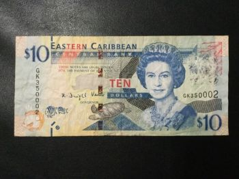 EAST CARIBBEAN 10 DOLLARS 2012 P 52 NEW CRICKET MARK UNC
