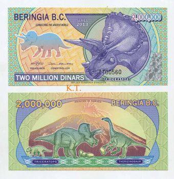 BERINGIA B.C. 2.000.000 DINARS 2013 TRICERATOPS POLYMER UNC