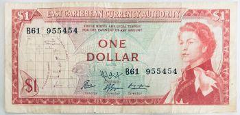 EAST CARIBBEAN 5 DOLLARS 2008 P47 AU-UNC